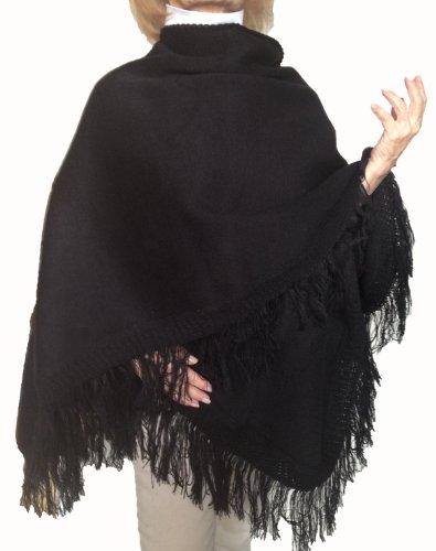(Warm Sexy Soft Alpaca Wool Poncho Coat Cape Solid Rich Black Color)