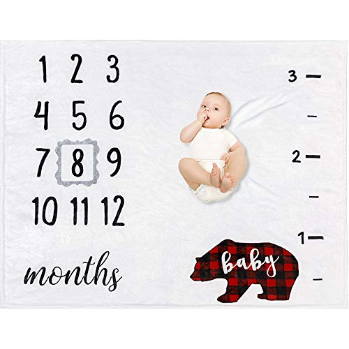 - Baby Monthly Milestone Blanket - Organic Plush Fleece Photography Background Prop for Boy Girl Newborn Baby Shower Gift Soft Bear Blanket with Frame 47''x40''