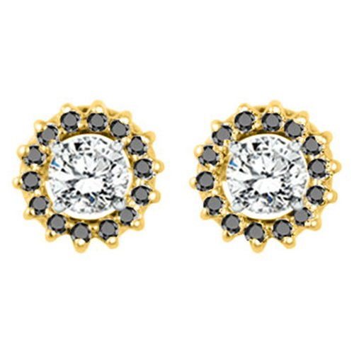14k Gold Round Cluster Earring Jackets with Black Cubic Zirconia 0.28 ct. tw.