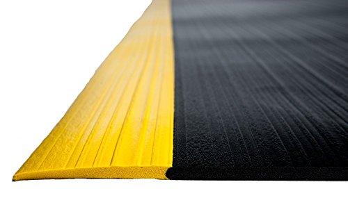 Bertech Anti Fatigue Vinyl Foam Floor Mat, 3' Wide x 20' Long x 3/8'' Thick, Ribbed Pattern, Black w/Yellow Border (Made in USA) by Bertech (Image #3)