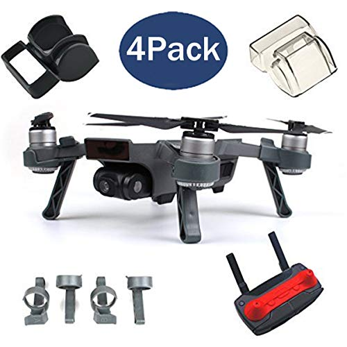 Fstop Labs Accessories Bundle Set for DJI Spark Combo Lens Cap Hood Sun Shade Camera Cover Protector Landing Gear Guard Protective Bubble Remote Controller Clip Accessory (4 Pack) by Fstop Labs