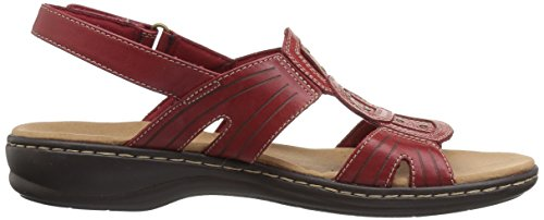 CLARKS Womens Leisa Vine Platform, Red Leather, 7 Medium US