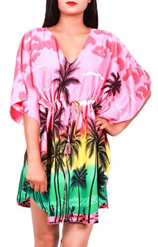 Virgin Crafts Women's Trim Kaftan Hawaiian Print Swimwear Beach (Silk Kaftan With Tie)
