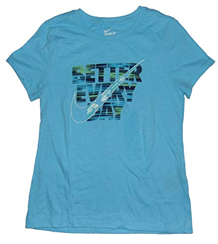 NIKE Girl's Graphic Tee Shirt Better Every Day Small Cotton Blue