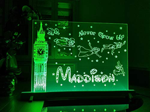 (18'x24' LED Engraved Acrylic Sign Peter Pan Inspired 'Never Grow Up' Quote Kids Personalized Light Nightlight Multicolored Lamp UniqueAnd Stick Wall Decals)