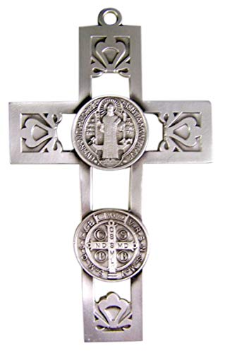Religious Home Decor Silver-Toned Pewter Saint Benedict Medal Hanging Wall Cross, 5 1/2 inches