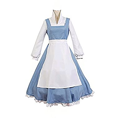 COSSKY® Beauty And The Beast Cosplay Costume Princess Belle Outfit Maid Dress (Women-L)