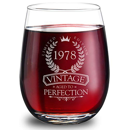 1978 40th Birthday Gifts for Women and Men - Elegant 15oz Stemless Wine Glass. The Perfect 40th Wedding Anniversary Gifts for Dad, Mom, Husband and Wife. Best 40th Birthday Decorations for Him and Her