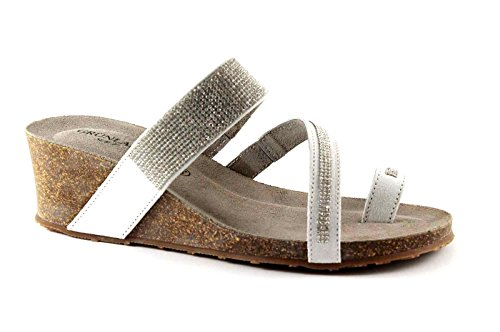 Grünland PÁGINA CB0372 sandalias de cuña de hielo mujer de diamantes de imitación Grigio