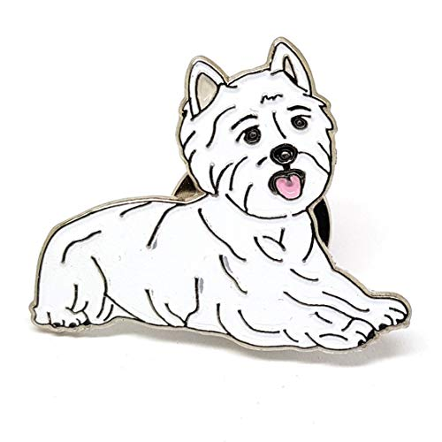 Metal Enamel Westie Dog Pin Badge with Gift Pouch ()