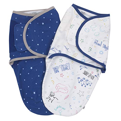 - ED Ellen DeGeneres Doodle Dog - Soft 100% Cotton Knit Navy, Grey Stars & All-Over Doodle Print 2 Pack Swaddle Baby Blankets, Navy, White, Red, Yellow