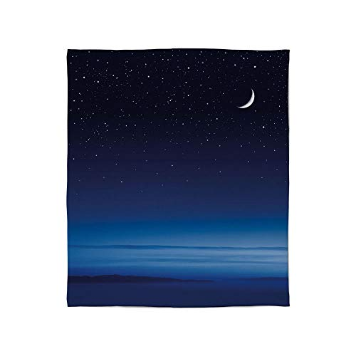 TecBillion Warm Flannel Blanket,Night,for Folding Bed Crib, Stroller, Travel, Couch and Bed,Size Throw/Twin/Queen/King,Moon and Stars Over Santa Barbara Channel