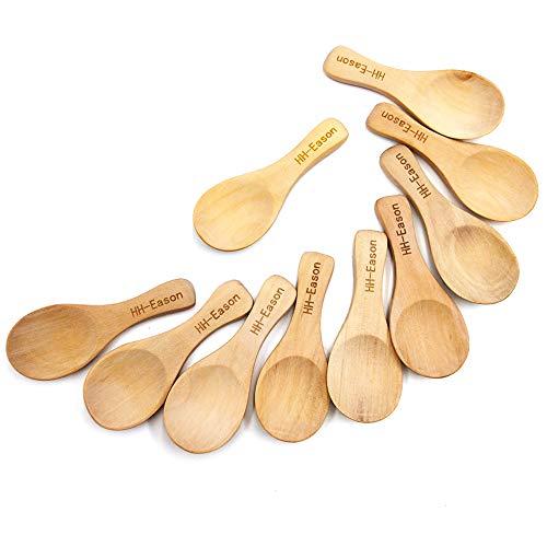 - 10Pcs Handmade Small Wooden Salt Spoons Mini Sugar Seasoning Condiments Baby Solid Wood Honey Teaspoon Coffee Tea Jam Mustard Ice Cream Milk (True color)