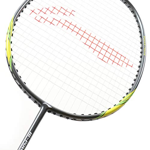 Li Ning Badminton Racket Power X Series Player Edition Light Weight Carbon Graphite Shaft 80+ GMS with Full Carrying Bag Cover (Power X3 - Grey/Lime)