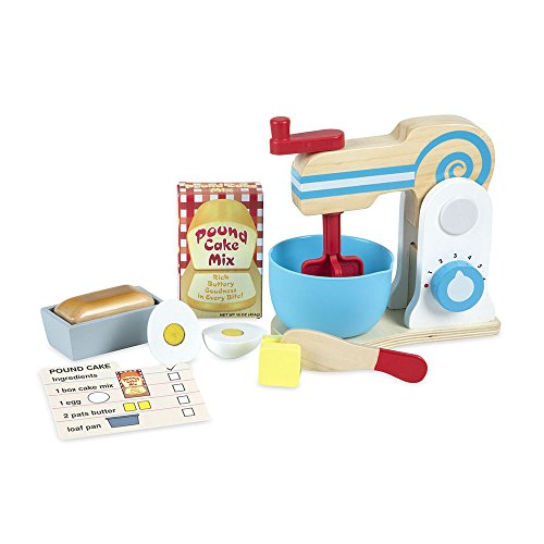 Melissa & Doug Wooden Make-a-Cake Mixer Set (11 pcs) - Play Food and Kitchen Accessories from Melissa & Doug