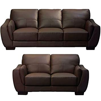 Amazing Carson Leather Sofa Suite 3 2 Seater Dark Brown Amazon Co Onthecornerstone Fun Painted Chair Ideas Images Onthecornerstoneorg