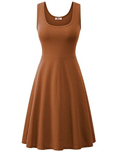 Herou Women Summer Beach Cotton Casual Sleeveless Flared Tank Dress (Camel, Medium)