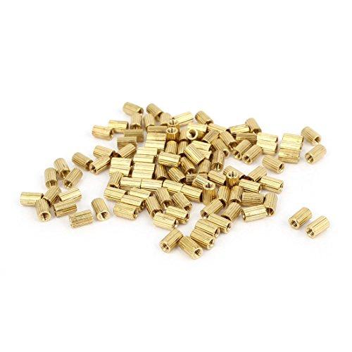 uxcell 100 Pcs Female Threaded Pillars Brass Standoff Spacer Gold Tone M2x5mm