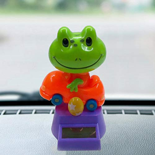Misszhang-US Solar Power Swinging Cute Cartoon Frog Car Interior Dashboard Ornament Gift