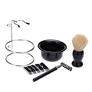 Abody 4 In 1 Men's Manual Razor Set Stainess Steel Stand Holder 5 Blades Wet Shaving Beard Razor Shaving Brush Bowl
