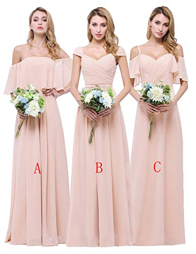CLOTHKNOW Chiffon Bridesmaid Dresses Long Blush Sweetheart Pleat Girl Formal Gown