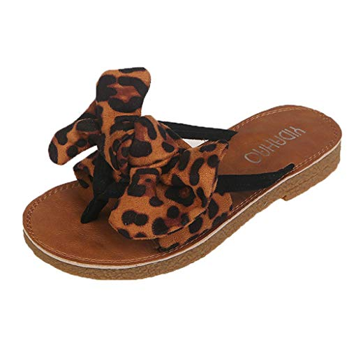 (Womens Slides, Bow Sandals with Arch Support Comfortable Beach Slippers for Summer Leopard Print Beach Shoes Khaki)