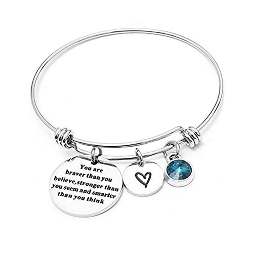 Angel's Draw Home You Are Braver than You Believe Adjustable Bangle Bracelets With 12 Months Color Birthstone for Women Girls Gift (Blue Turquoise- December)
