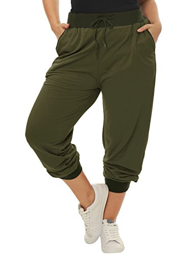 uxcell Women's Plus Size Drawstring Waist Contrast Color Jogger Pants 1X Green by uxcell