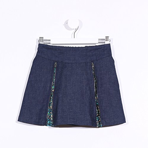 Limited Floral Print Edition (Marc & Molly's Limited Edition Girls Zipper Skirt (Denim and Green Floral Print, 8))