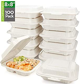 "HeloGreen [100 Count] Eco Friendly to Go Containers (8"" x 8"", 3-Compartment) - Non Soggy, Leak Proof, Disposable to Go Boxes Made from Cornstarch - Microwave Safe, Ideal for Take Out Food Containers"