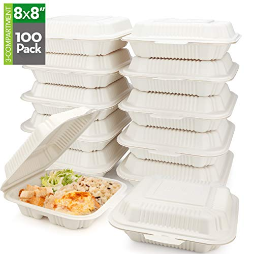 """HeloGreen [100 Count] Eco Friendly to Go Containers (8"""" x 8"""", 3-Compartment) - Non Soggy, Leak Proof, Disposable to Go Boxes Made from Cornstarch - Microwave Safe, Ideal for Take Out Food Containers"""