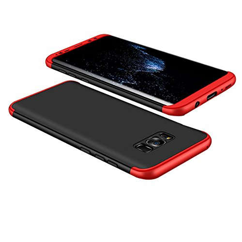 Price comparison product image Galaxy S8 Case, Xeber 3 in 1 Slim Fit Shell Hard Anti Scratch Cover Case with Excellent Grip for Samsung Galaxy S8 plus (Samsung Galaxy S8 Plus, Black+Red)