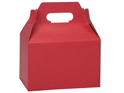 Pack of 100, Red Pinstripe Gable Boxes 8 x 5 x 5.25'' for Unique Presentations & Food Packaging by Generic