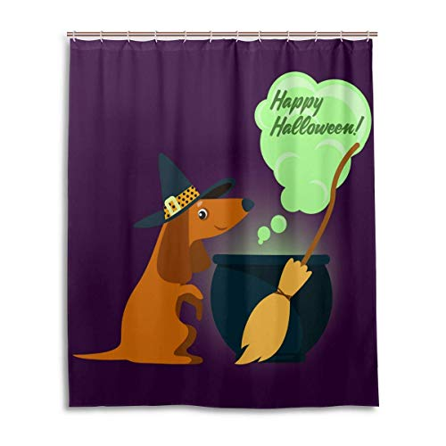 Dachshund in Witch Costume Halloween Shower Curtain Bathroom Home Decor Set Fabric Polyester Washable Waterproof,60 by 72 Inch]()