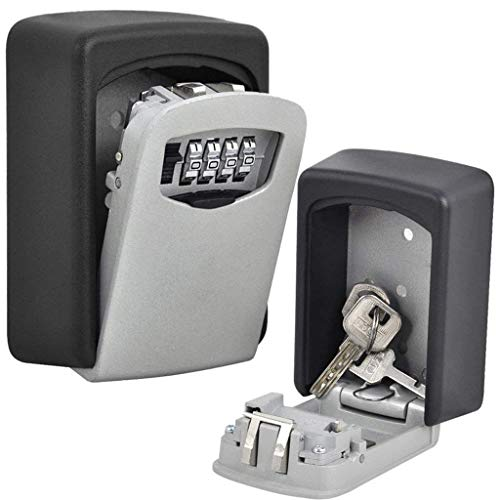BYBOO Key Storage Lock Box Outdoor, Wall Mount Key Lock Box, 4-Digit Combination Key Safe Box for Indoor or Outdoor Holds up to 5 Keys Combination Code Key Lock