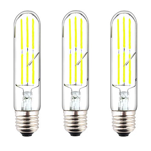 130v T10 E26 Medium Base - Klarlight T10 Tubular LED E26 Filament Bulbs, 6 Watt Dimmable T10 LED Medium Base Edison Bulb 60W E26 Incandescent Replacement Light Bulbs, Soft White Vintage Clear Glass LED Tubular Bulb