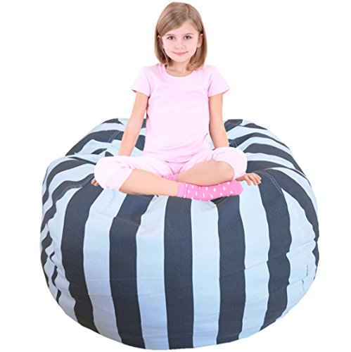 Kids Bean Bag | Large Bean Bag | Children's Chair Cover | Children Chair | Soft Toy Bag | Kids Toys Organizer | Bean Bag Cover | Comfy Chair Comfortable Seating for Kids Dark Grey (Large Bean Bag)