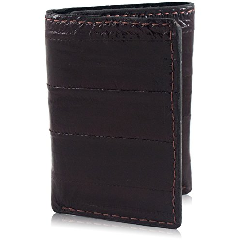 Brown Genuine Pacific Eel Skin Trifold 9 Card Leather Wallet Handmade