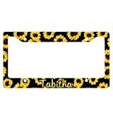 Personalized Sunflower Black License Plate Frame for your Car