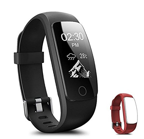 Fitness Tracker - Coffea H7-HR Activity Tracker : Heart Rate Monitor Wireless Bluetooth Smart Wristband Bracelet - Waterproof Fitness Watch with Replacement Band for Android & IOS (Black+Red Band)