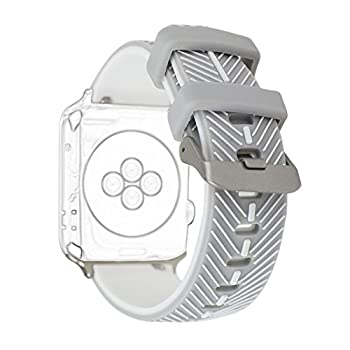 For Apple iWatch Band 42MM, Rosa Schleife Apple Watch Bands 42mm Silicone Feather Pattern Smart Watch Replacement Band with Stainless Steel Buckle Clasp for Apple Watch Sport & Edition (Grey/White)