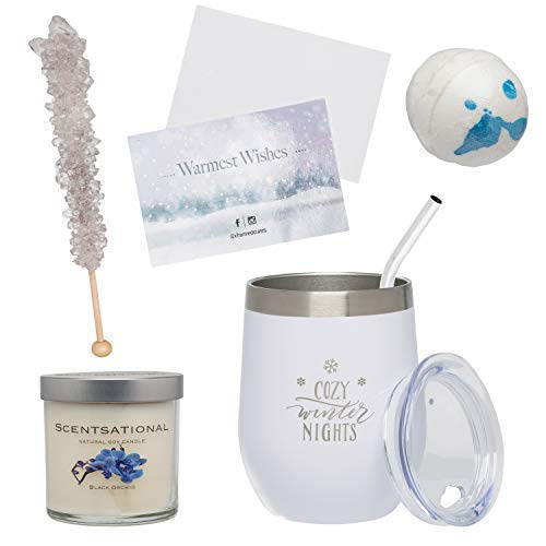 Relaxation Gift Basket for Women: Stainless Steel Wine Tumbler, Scented Candle, Bath Bomb & Candy Set for Her by Charmed Crates (Image #1)