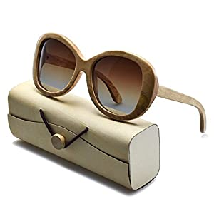 BEDATE Polarized Wayfarer Koa Wood Sunglasses with UV 400 Protection Brown Gradient Lens
