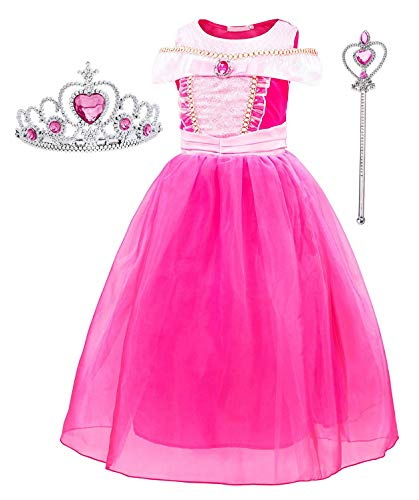 Girl Princess Aurora Fancy Party Dresses With Accessories Age 4-5 Years(Red)