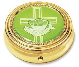 Jesus Ichthys Fish w Loaves Latin Cross Design Gold Plate Catholic Religious Hospital Church Communion Pyx for Hosts (Design Fish Goblet)