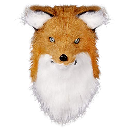molezu Movable Mouth Fox Mask, Costume Cosplay Mouth Mover Wolf Masks, Plush Faux Fur Suit for Halloween Party (Yellow Fox) ()