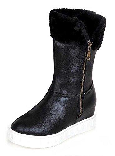 Chfso Mujeres Warm Solid Round Toe Zipper Plataforma De Tacón Medio Winter Snow Bota Black