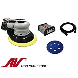 "AirVANTAGE 6"" Palm-Style, 1st Generation Electric Sander Kit with Power Supply Non-Vacuum- 3/32"" Orbit: Low-Profile PSA Vinyl Pad"