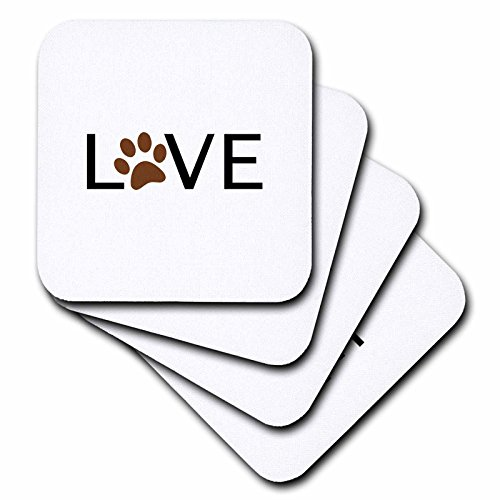 3dRose cst_180483_3 Love with Brown Paw Print for O Anima...
