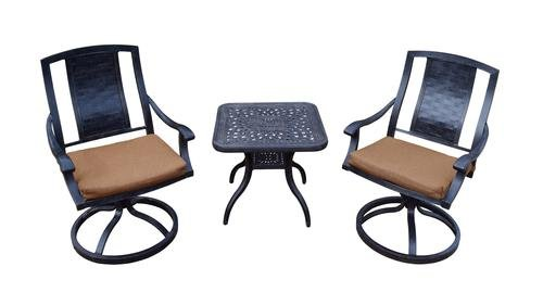 3 Piece Swivel Rockers and Side Table Outdoor Garden Patio Set (3 Piece Swivel Rocker)